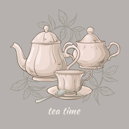 Illustration with cup of tea, teapot and sugar bowl on grey background