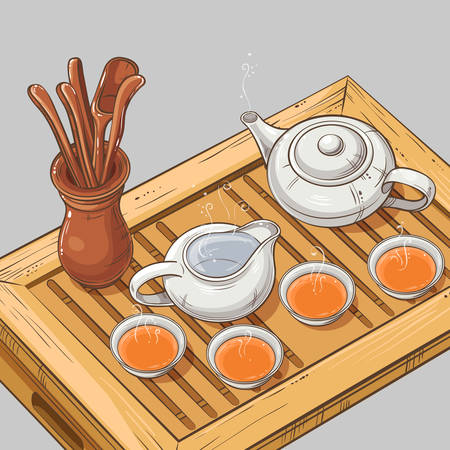chinese teapot: Tea table with teapot, tea bowls, jug and tea tools