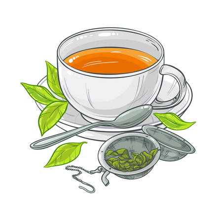 afternoon: vector illustration with cup of tea, tea spoon and tea-strainer on color background