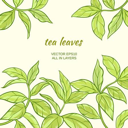 Illustratie met groene thee bladeren op een achtergrond kleur Stock Illustratie