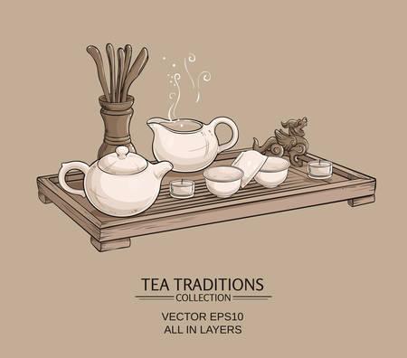 table de thé avec une théière, des bols à thé, thé cruche et outils de thé