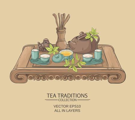 Tea table with teapot, tea pairs, tea gaiwan and tea tools