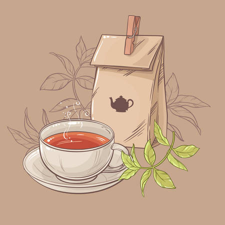 pouch: cup of tea and paper packaging on brown background