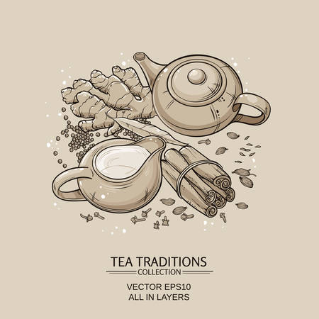 veda: traditional indian masala tea with spices on brown background