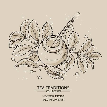 """yerba mate: Ilustraci�n con la yerba mate en calabaza y bombilla y de la planta """"yerba mate"""""""