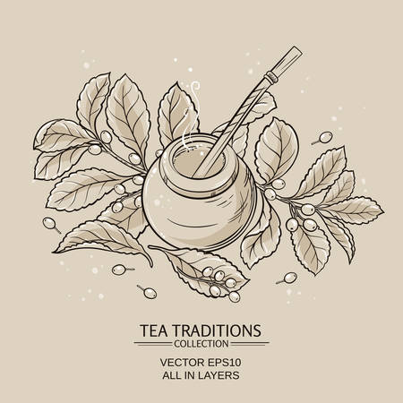 Illustration with mate tea in calabash and bombilla and yerba mate plant Illustration