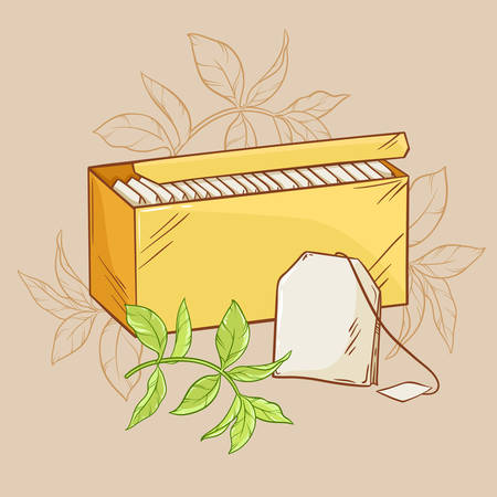 tea bag: illustration with tea pack,  tea bag and green tea leaves