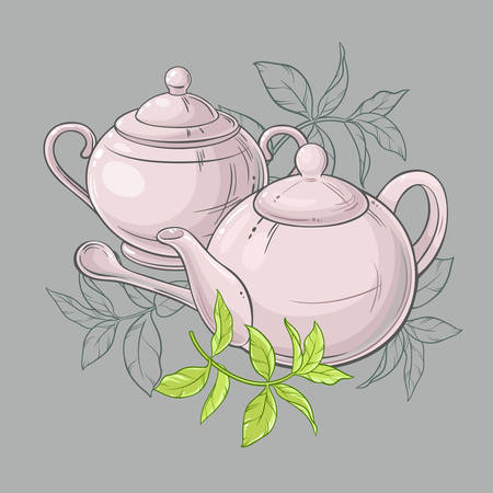 tea leaves: Illustration with  teapot and sugar bowl and green tea leaves