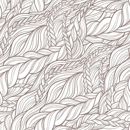 tress: braid hair seamless pattern on white background
