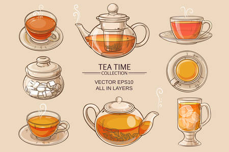 brown sugar: Cup of tea, teapot and sugar bowl vector set on brown  background Illustration