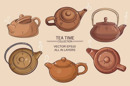 teatime: Teapots vector set on color background