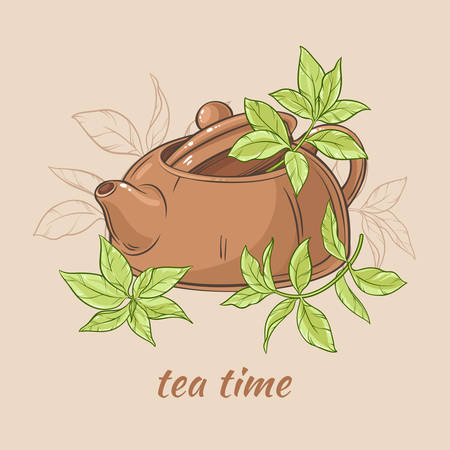 Vector Illustration with brown teapot  with tea leaves on brown  background Illustration