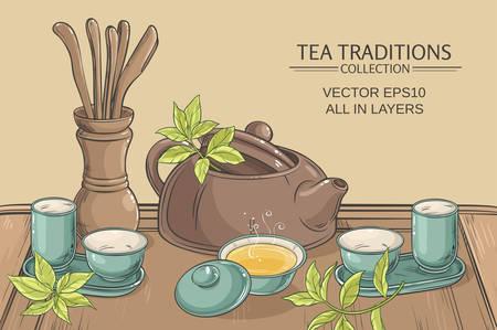 chinese tea pot: Tea table with teapot, tea pairs, tea gaiwan and tea tools