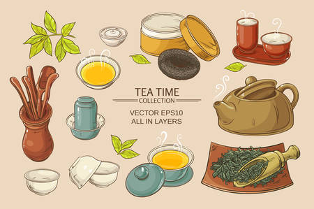 Tea ceremony vector set on color background Ilustração