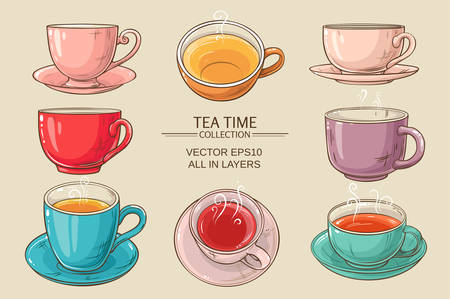 teatime: Tea cups vector set on color  background