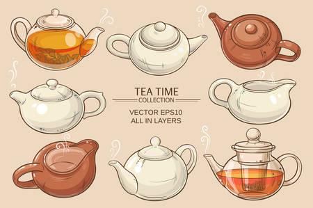Teekannen Vektor auf schwarzem Hintergrund gesetzt