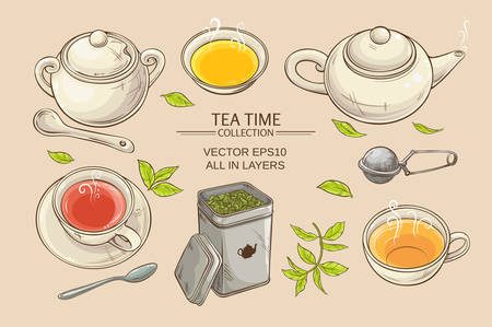 Vector set  with cups,  teapot,  sugar bowl, tin packaging and tea strainer on color background