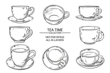 teatime: Tea cups vector set on white  background