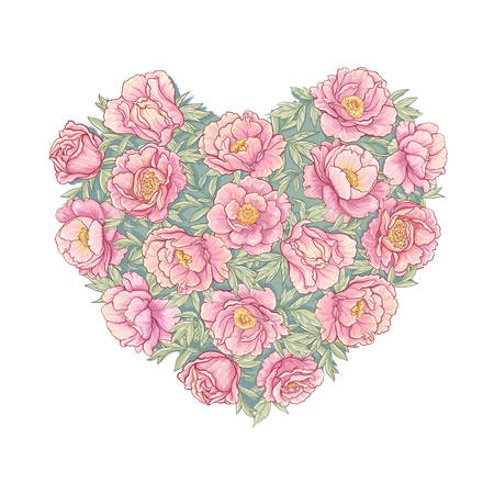 vectorvector heart of peonies on white background