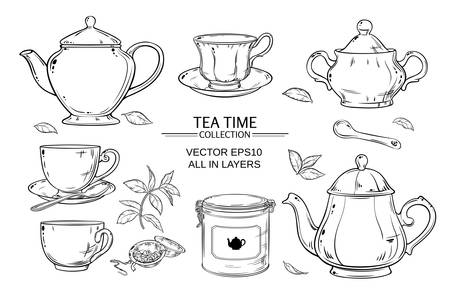 Vector set  with cups,  teapot,  sugar bowl, tin packaging and tea strainer on white background