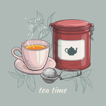 tin packaging: vector illustration with cup of tea with round tin packaging and tea-strainer Illustration