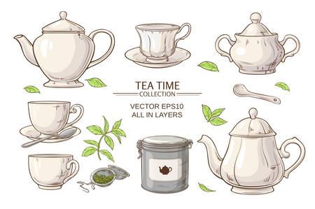 Vector set avec des tasses, théière, sucrier, emballage d'étain et passoire à thé sur fond blanc