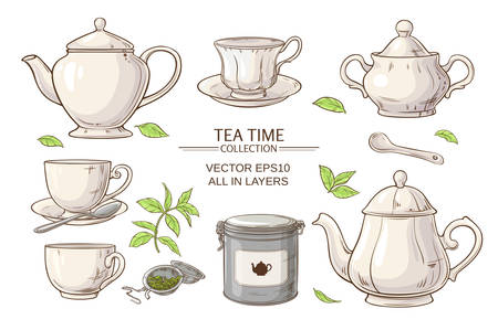 teatime: Vector set  with cups,  teapot,  sugar bowl, tin packaging and tea strainer on white background
