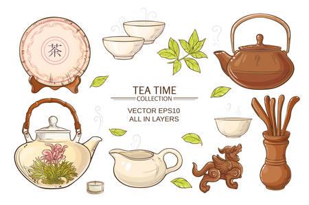 Tea ceremony vector set on color background Illustration