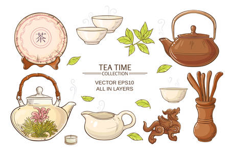 teatime: Tea ceremony vector set on color background Illustration