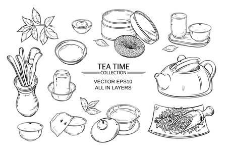 vecteur de cérémonie du thé mis sur fond blanc