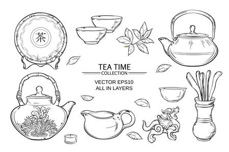 chinese teapot: Tea ceremony vector set on color background Illustration