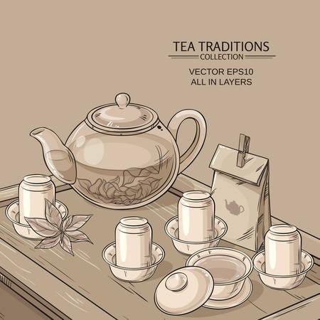 chinese teapot: Tea table with teapot, tea bowls, tea jug and tea tools