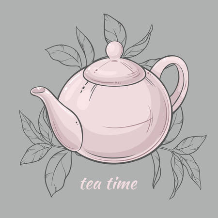 Vector Illustration with white teapot on grey  background