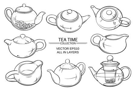 vector set of teapots on white background Ilustração