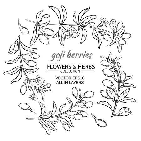 goji berries vector set on white background Vettoriali