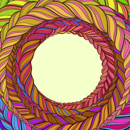 vector frame avec des cheveux tresse motif de cercle de couleur