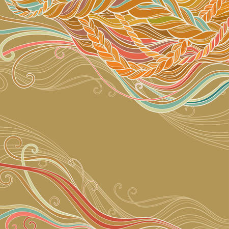 braid hair vector pattern on brown background Illustration