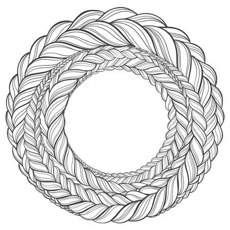 tresse motif cheveux cercle couleur sur fond blanc