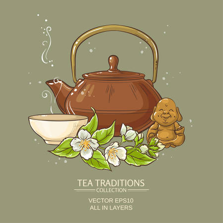 chinese teapot: Illustration with  tea bowl, teapot, statuette and  jasmine flowers Illustration