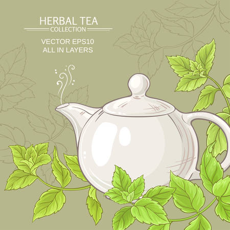 peppermint tea in teapot  and peppermint leaves Illustration