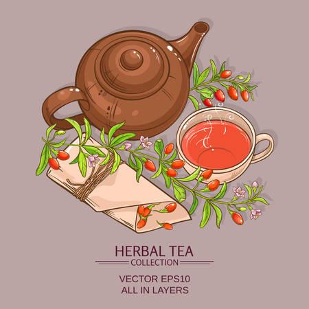 ollas de barro: taza de té de bayas de goji y tetera sobre fondo de color