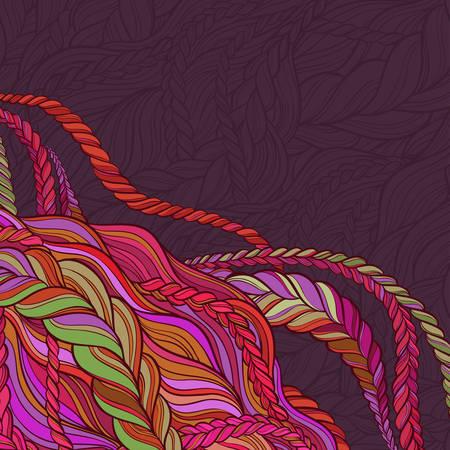 tresse motif de vecteur de cheveux sur fond de couleur