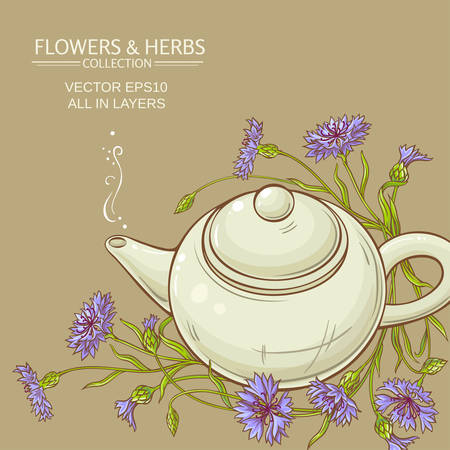 corn flower tea in teapot vector background