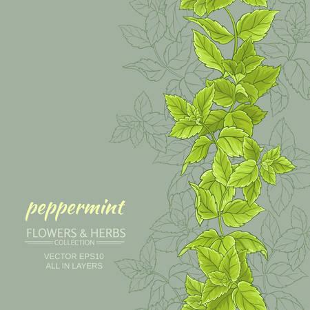 peppermint leaves vertical vector pattern on color background Illustration