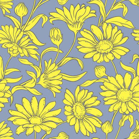 calendula: calendula flowers vector seamless pattern on color background