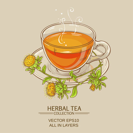 cup of safflower tea on color background