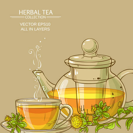 cup of safflower tea and teapot  with safflower flowers Illustration