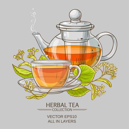 linden tea: linden tea vector illustration