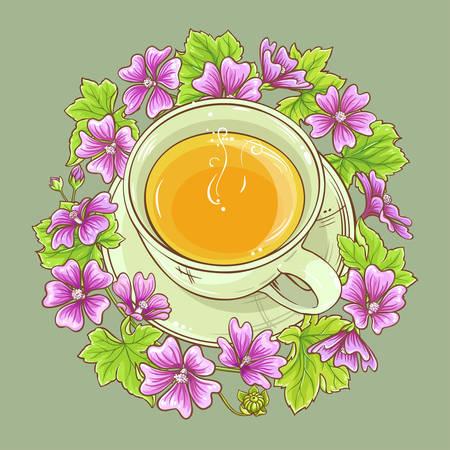cup of malva tea on color background