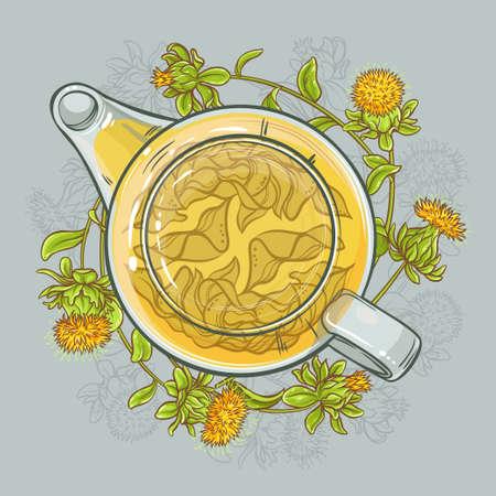 vector illustration with safflower tea in teapot